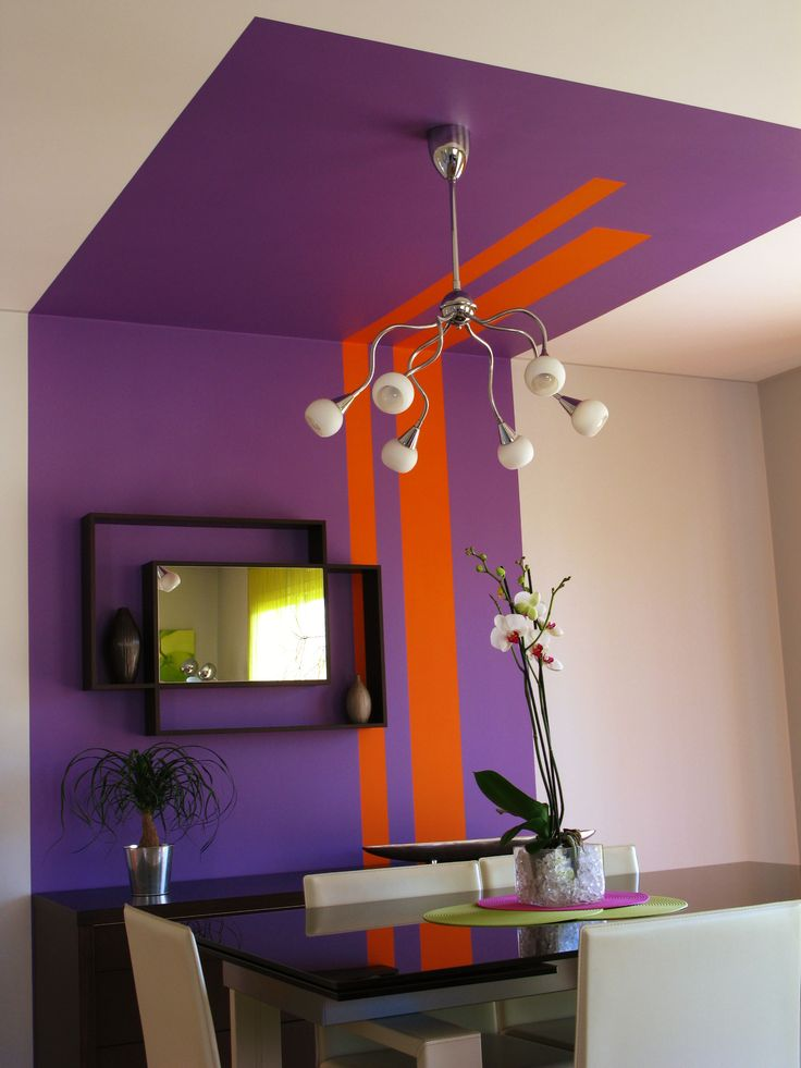 Peinture mur plafond cosy d co couleur mauve for Peinture plafond