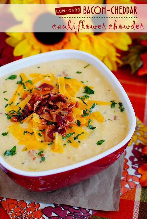 Low-Carb Bacon-Cheddar Cauliflower Chowder. A low-carb alternative to baked potato soup!
