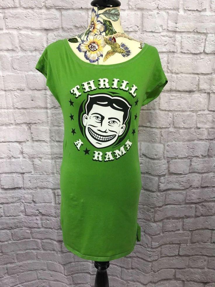 Thrill A Rama Kitschy Tunic Dress Size Large Green Sourpuss Rockabilly Pin Up  #Sourpuss #TunicTunicDress #Casual