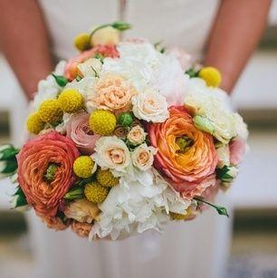 Bouquet de mariée, corail et jaune