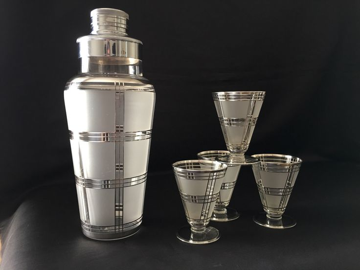 Glass Cocktail Shaker Set With Sterling Silver Plaid Overlay