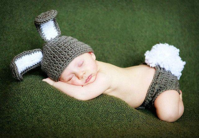 Newborn baby Bunny Hat Diaper Cover Baby Hat Diaper Cover Newborn Photography Props costume rabbit hat baby caps
