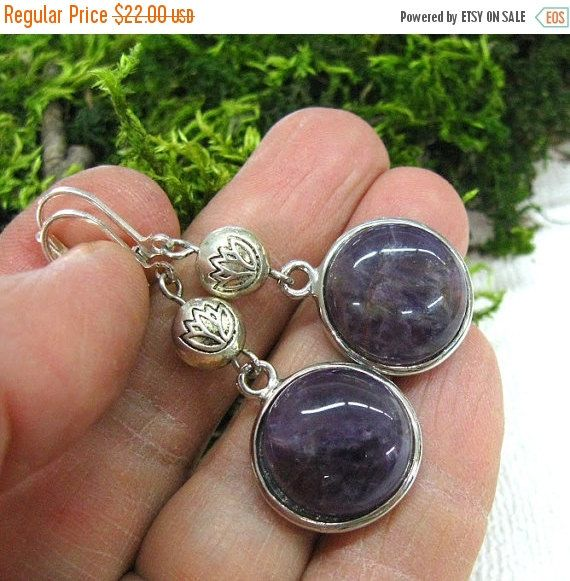 Your BEST GIFT Round Amethyst Earrings Purple gemstone long earrings Silver plated Lotus flower accents India inspired jewelry natural ameth