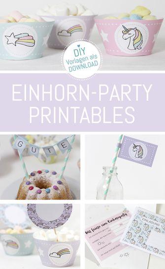 Einhorn Kindergeburtstag feiern. Die Vorlagen ausdrucken, basteln und feiern. Herunterladen auf www.die-kleine-designerei.com