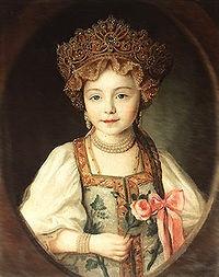 Grand Duchess Alexandra Pavlovna dressed in kokoshnik and sarafan, 1790s.