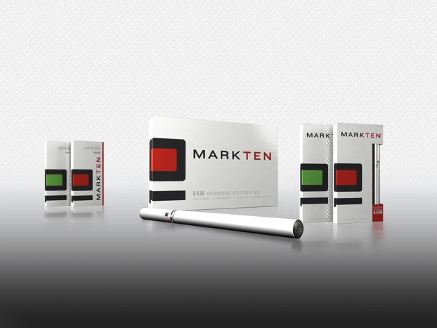 This photo provided by Altria Group Inc., shows the company's first electronic cigarette under the MarkTen brand. Altria Group Inc., is launching the brand in Indiana starting in August 2013 and expanding its smokeless product offerings. (AP Photo/Altria Group Inc.)