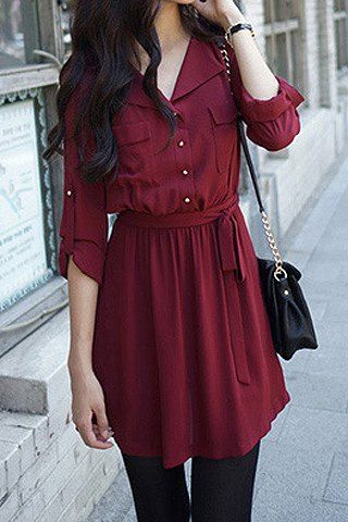 Shirt Collar Long Sleeves Single Breasted Solid Color Casual Dress For Women