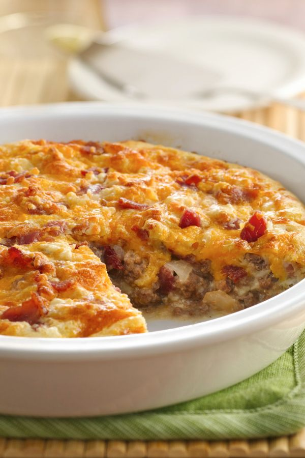 Ground beef combines with bacon to add a delicious flavor to this easy cheeseburger pie!