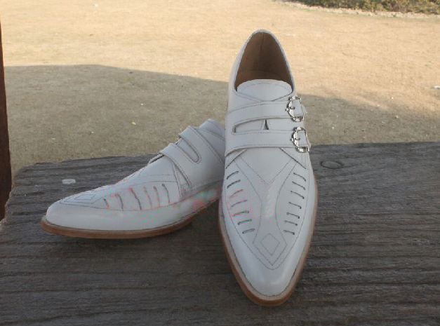 Handmade white Duck shoes, Mens fashion double monk white color duck shoes - Dress/Formal