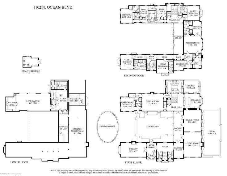 Palm Beach mansion floor plan httphomesoftherichnet201310