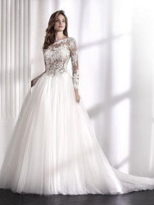 LIBIA Vestido de noiva manga comprida