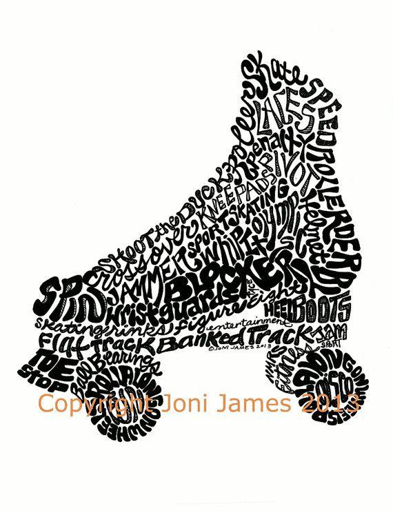 Roller Skating Art Pen and Ink Illustration Typography Calligram, Roller Derby Word Art Drawing Print, Mat color choice