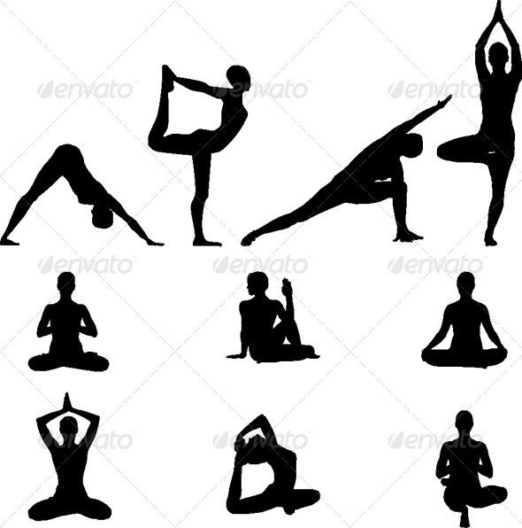 Yoga Silhouettes  Vector Illustration set — Vector EPS #health #illustration • Available here → https://graphicriver.net/item/yoga-silhouettes-vector-illustration-set/1777445?ref=pxcr