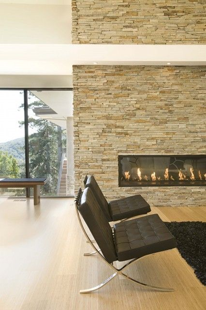Bamboo, Stacked Stone and this fireplace are a great combination.