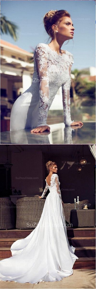 2015 Long Sleeve Bridal Dresses Jewel Appliques Elegant Sheath Backless Satin Court Train Wedding Gowns