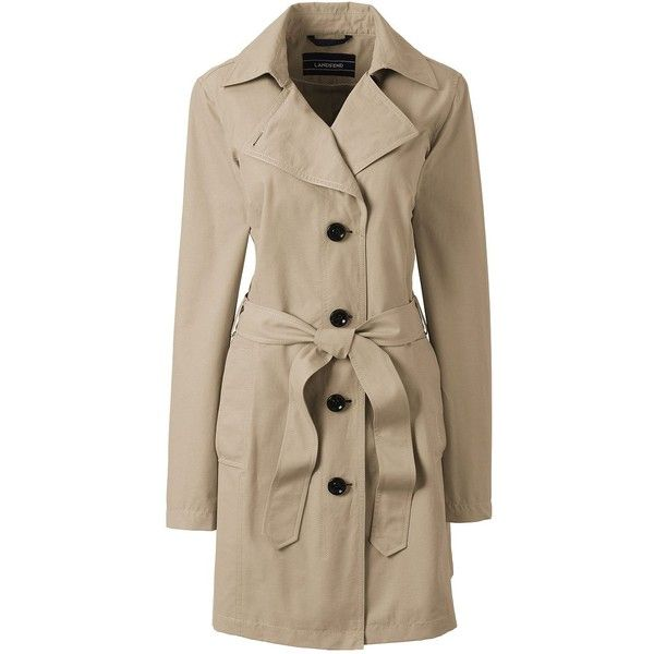 Lands' End Women's Petite Trench Coat - Harbor ($99) ❤ liked on Polyvore featuring outerwear, coats, tan, trench coat, lands end coats, brown coat, petite coats and womens plus coats