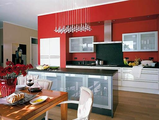 More nice white cabinets with black and red accents