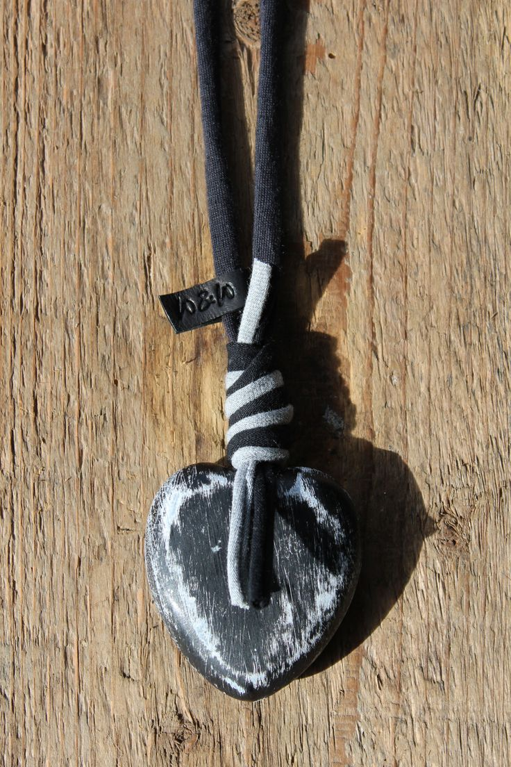 houten hart xl krijt ketting handmade