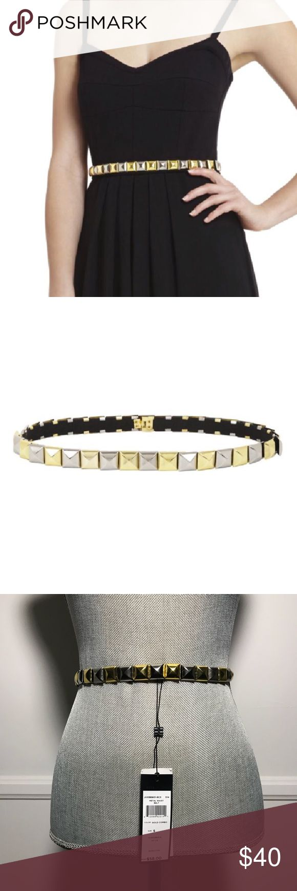 """BCBGMAXAZRIA  Pyramid Stud Elastic Waist Belt S Embellished with smooth pyramid studs on an elastic band, this gorgeous belt serves as a comfortable, on-trend way to edge up any look. Size S. Unstretched it is 26"""" long but can stretch as much as 29"""" comfortably. Great addition to any LBD. Gold and silver  Elasticized waist belt. Contrast pyramid studs throughout. Hook-and-eye closure. Nickel Alloy, Elastic. Imported. BCBGMaxAzria Accessories Belts"""