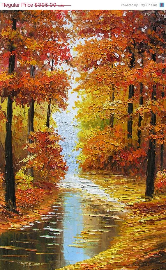 Sale Original Oil Painting Canadian Autumn MADE by ArtPaintingsMP