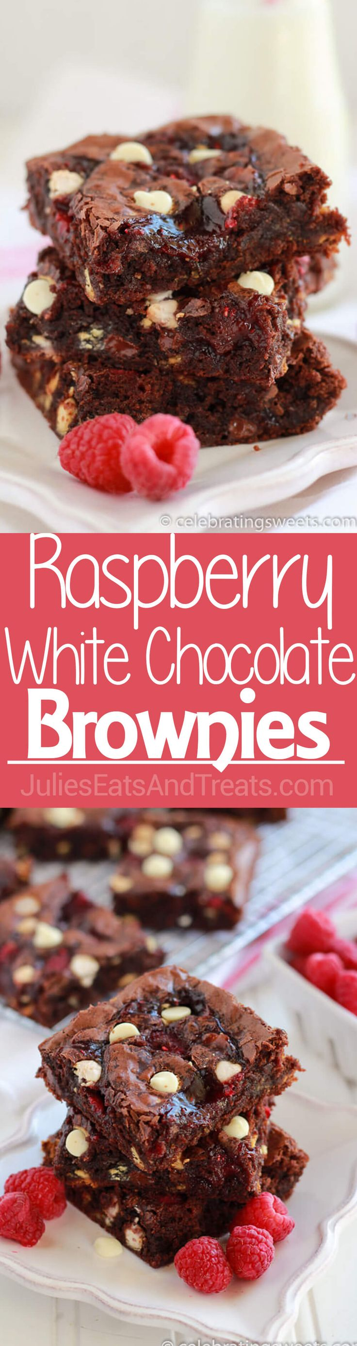 Raspberry White Chocolate Brownies ~ Fudgy brownie recipe filled with white chocolate chips, raspberry jam, and fresh raspberries. Simple and delicious! ~ http://www.julieseatsandtreats.com