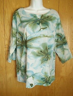 Style & Co. Plus Size Top 2X Knit Top Career Semi Sheer 3/4 Sleeves Career Wear