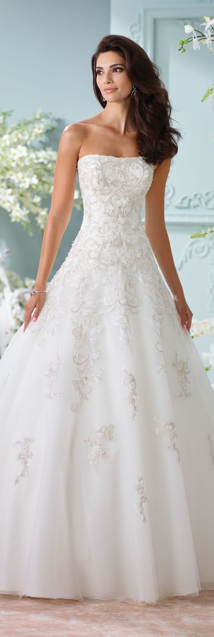 The David Tutera for Mon Cheri Spring 2016 Wedding Gown Collection - Style No. 116216 Sunniva  #straplesslaceweddingdress