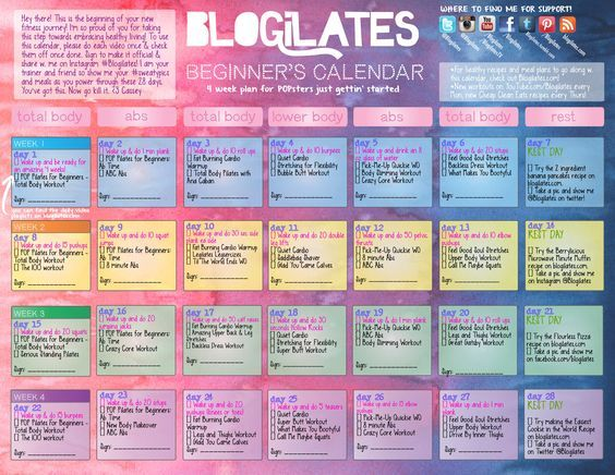 POP Pilates for Beginners Calendar! - Blogilates: Fitness, Food, and lots of Pilates