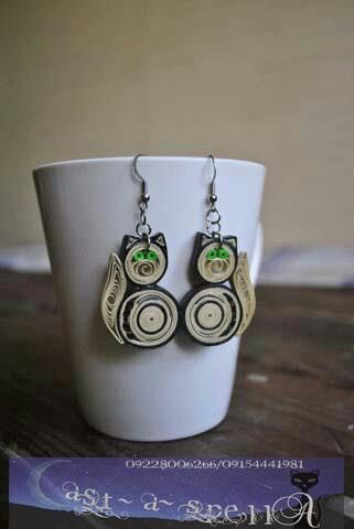 Handmade Paper Quilled Cat Earrings