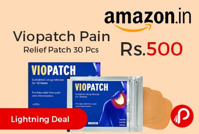 Amazon #LightningDeal is offering 50% off on Viopatch Pain Relief Patch 30 Pcs at Rs.500 Only. 100% Herbal, Waterproof, non-messy and non-greasy. 10 pouches of 3 X 50 cm sq. patches.  http://www.paisebachaoindia.com/viopatch-pain-relief-patch-30-pcs-at-rs-500-only-amazon/