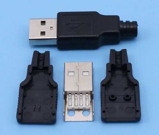 10 sets per lot DIY USB 2.0 A type Male Assembly Adapter Connector Plug Socket black solder type plastic shell