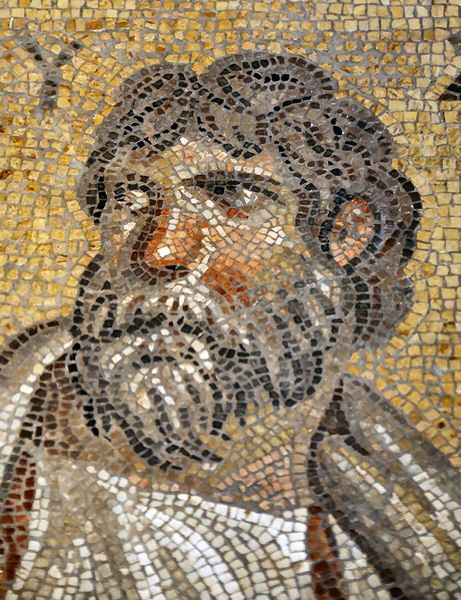 Roman Mosaic from Gerasa (Jordan) depicting historian Thucydides    Altes Museum, Berlin    © Jona Lendering, from Livius.org with permission