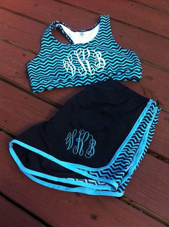 Monogram shorts and sports bra set on Etsy, $42.00