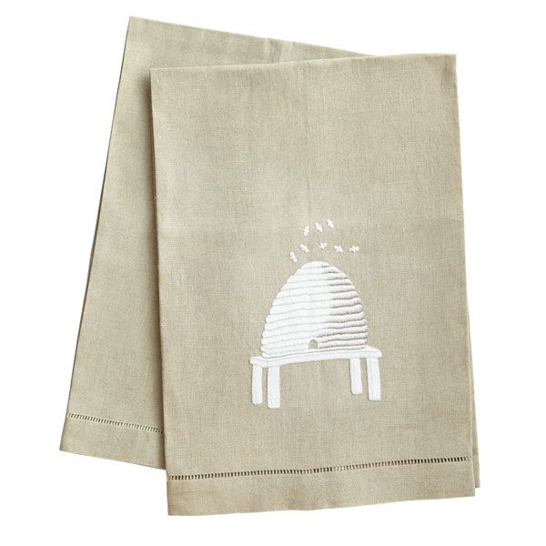 Tea Towels Pillow Talk: Simply Bee-autiful Hand-Embroidered Towels