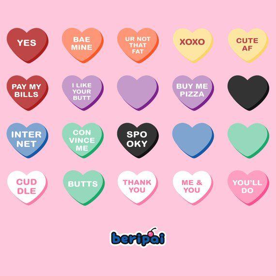 Commercial Use Valentine S Day Graphics 45 Hi Res Conversation Hearts Funny Candy Hearts Clip Art Desain Stiker Stiker Seni