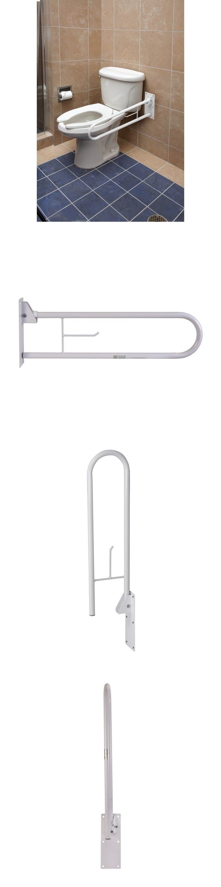 Handles and Rails: White Bathroom Grab Bar Fold Away Safety Rail Handicap Mobility Aid Support BUY IT NOW ONLY: $98.55