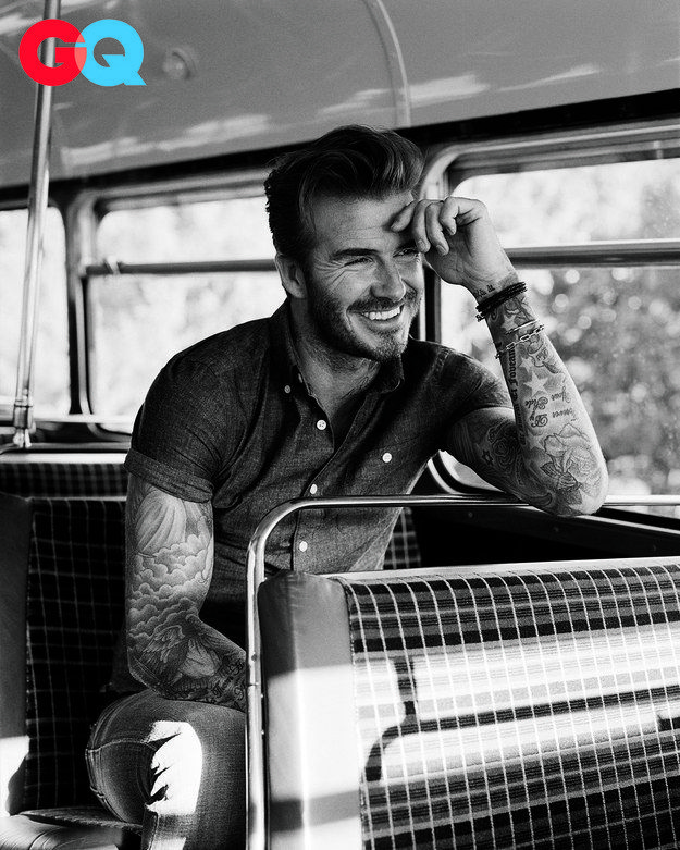 """And to end, let's please all sit down and give a moment of silence to David """"Laughing On A Bus"""" Beckham, who is so beautiful and chill. That bus is so blessed. 
