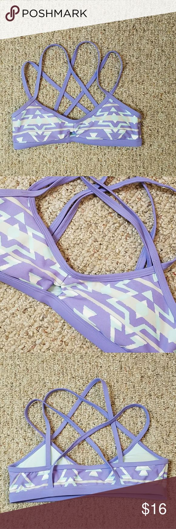 Aerie Purple Aztec Bikini Top Lavender purple strappy bikini top with a triangle cutout on the front and a mint green Aztec print   All one piece, so you don't have to worry about anything coming untied! aerie Swim Bikinis