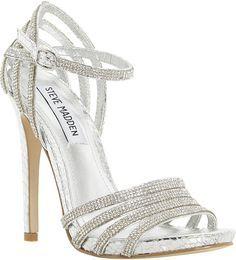 Steve Madden silver high heel sandals > strappy & sparkly!