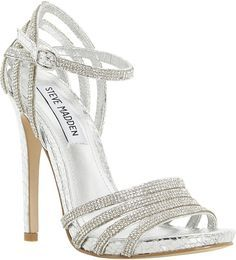 Strappy Silver High Heels - Qu Heel