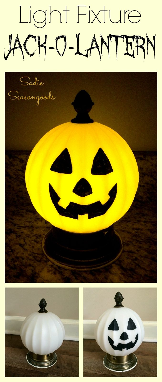 How cute is this salvaged light fixture turned jack-o-lantern? Super easy to do- take one globe ceiling light, some black craft paint for the face, and an orange LED flameless candle, and you have the perfect Halloween pumpkin! Plus, no fire hazards and it'll never rot. :) Happy Halloween upcycling & repurposing from #SadieSeasongoods!