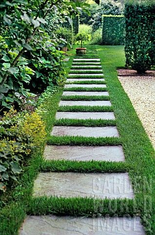 AJ139290- PATHWAY THROUGH LAWN LEADING TO MEADOW. : Asset Details -Garden World Images
