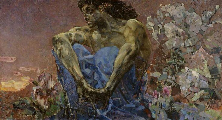 Михаил Врубельミハイル・ヴルーベリ(1856ー1910)「Демон сидящий(座るデーモン)」(1890)