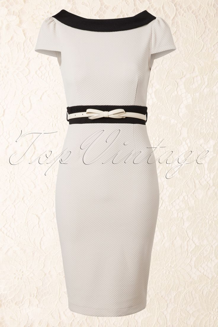 Paper Dolls - 50s Cream and Black Pencil Dress with Bow Belt