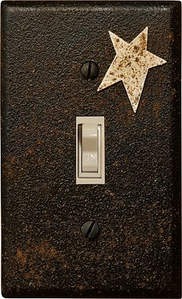 country light switch plate spray black and dust with cinnamon