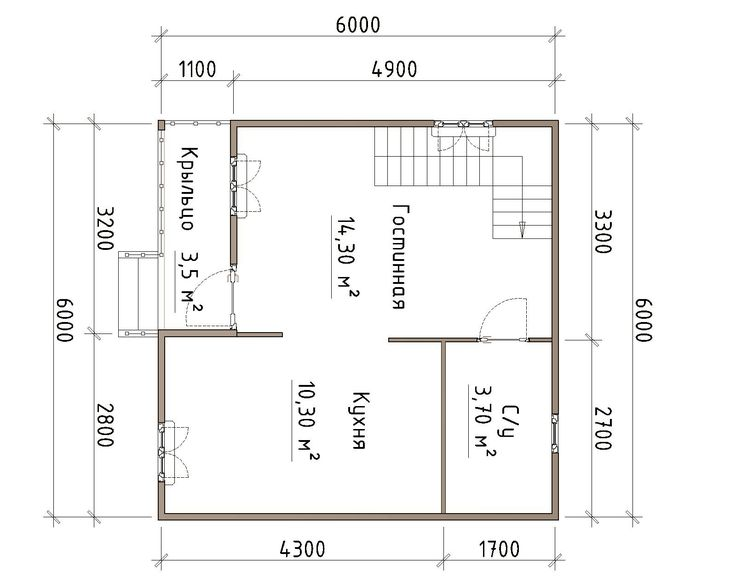 """Готовый проект дома из бруса 6X6 от Строительной компании """"ДОМ МЕЧТЫ""""."""