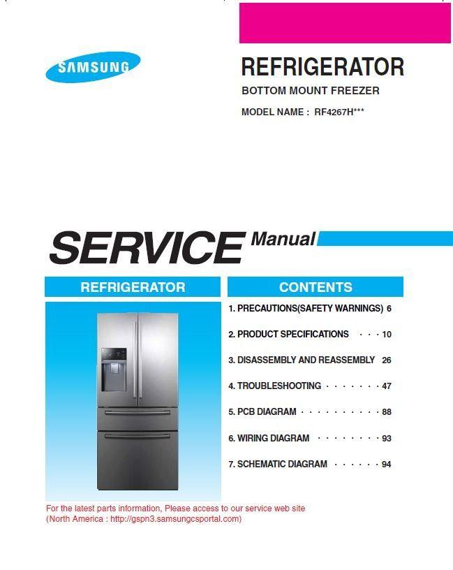 Samsung Rf4267hars Rf4267hawp Rf4267habp Service Manual Samsung