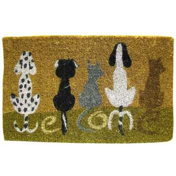 "Woof! Woof! Welcome guests into your home with this Dog Welcome Door Mat. The mat, made of 100% coir fiber, features five adorable dogs spelling out the word ""Welcome"" with their tails, all atop a cre"