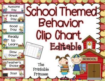 school themed behavior clip chart. It's EDITABLE! Includes behavior ...