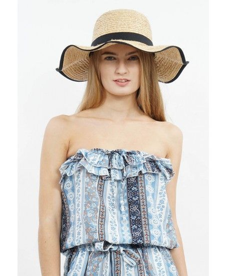 BLACK RIBBON STRAW HAT - MINEOLA Online Shopping Fashion Indonesia
